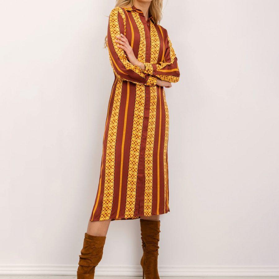 Sukienka-BSL-SK-12895-ciemny pomarańczowy