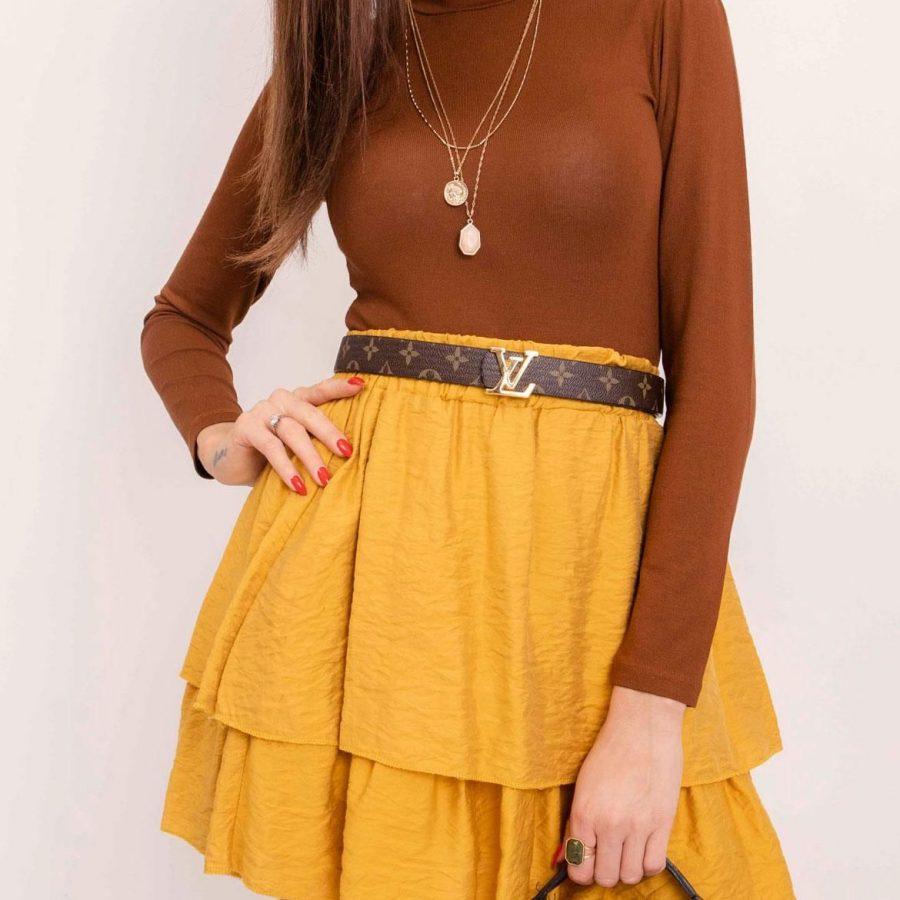 Spódnica-109-SD-1397.26P-ciemny żółty