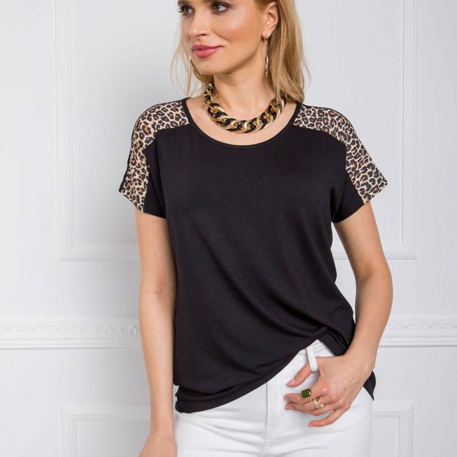 T-shirt-112-TS-MNB9.52P-czarno-beżowy
