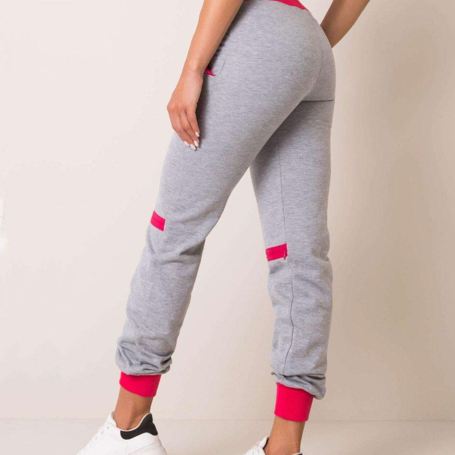 Spodnie dresowe-131-DR-0001.79-szaro-różowy