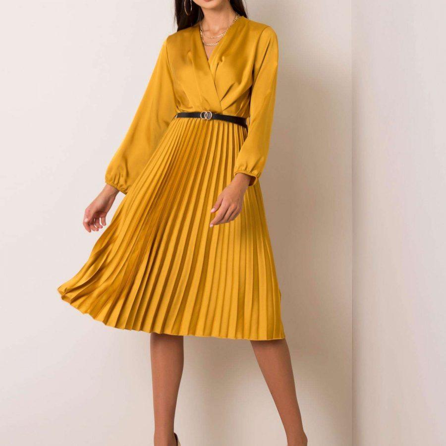 Sukienka-DHJ-SK-10596.51-ciemny żółty