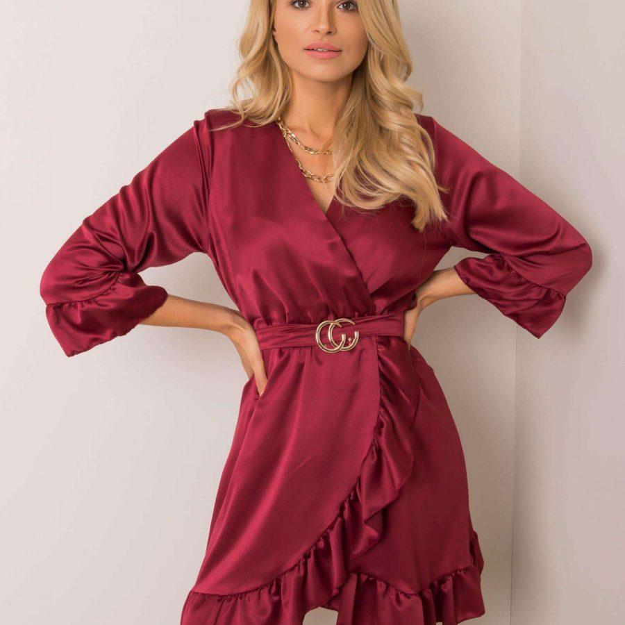 Sukienka-DHJ-SK-12190.81P-bordowy