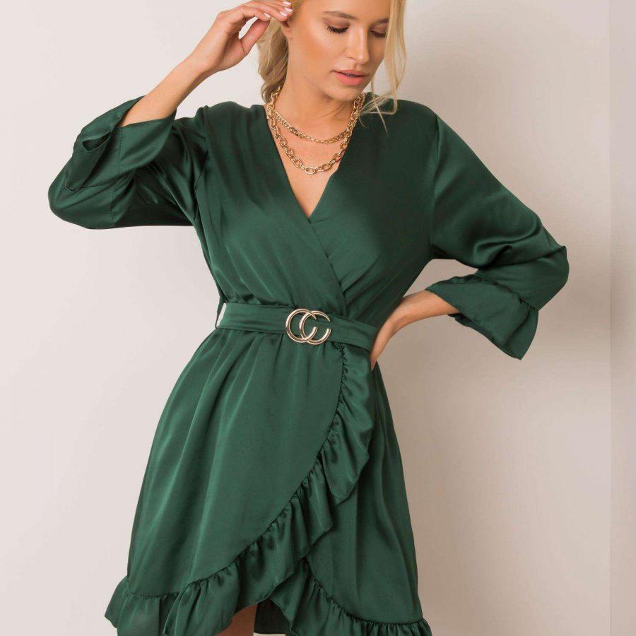 Sukienka-DHJ-SK-12190.81P-ciemny zielony
