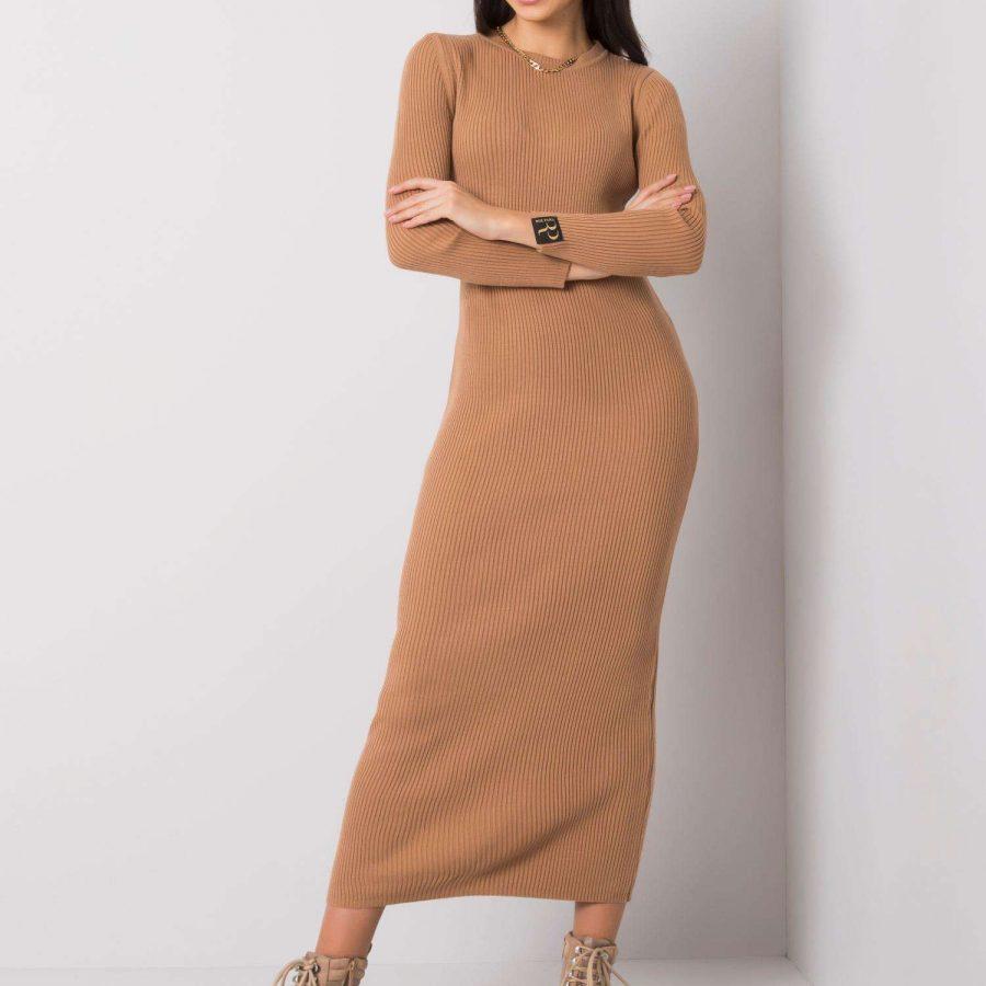 Sukienka-100-SK-6194.15P-ciemny bezowy