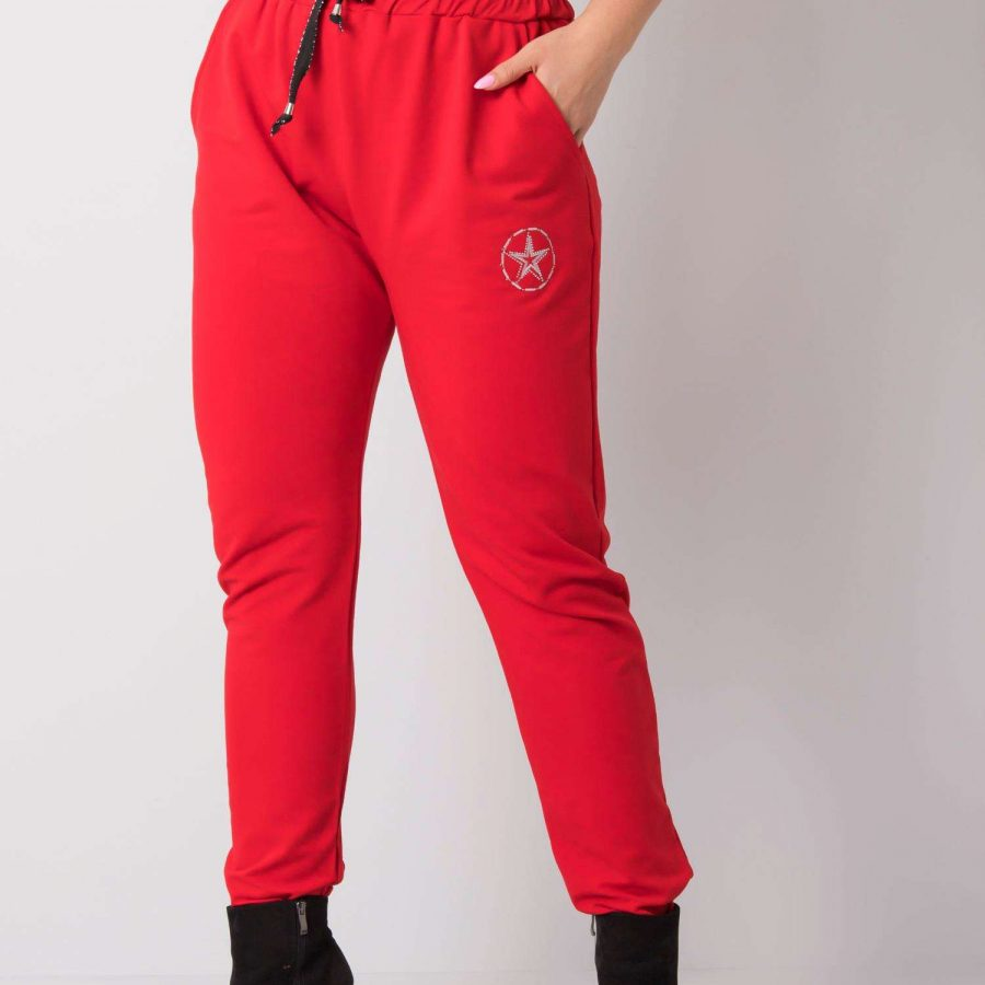 Spodnie dresowe-RV-DR-5553.05P-czerwony