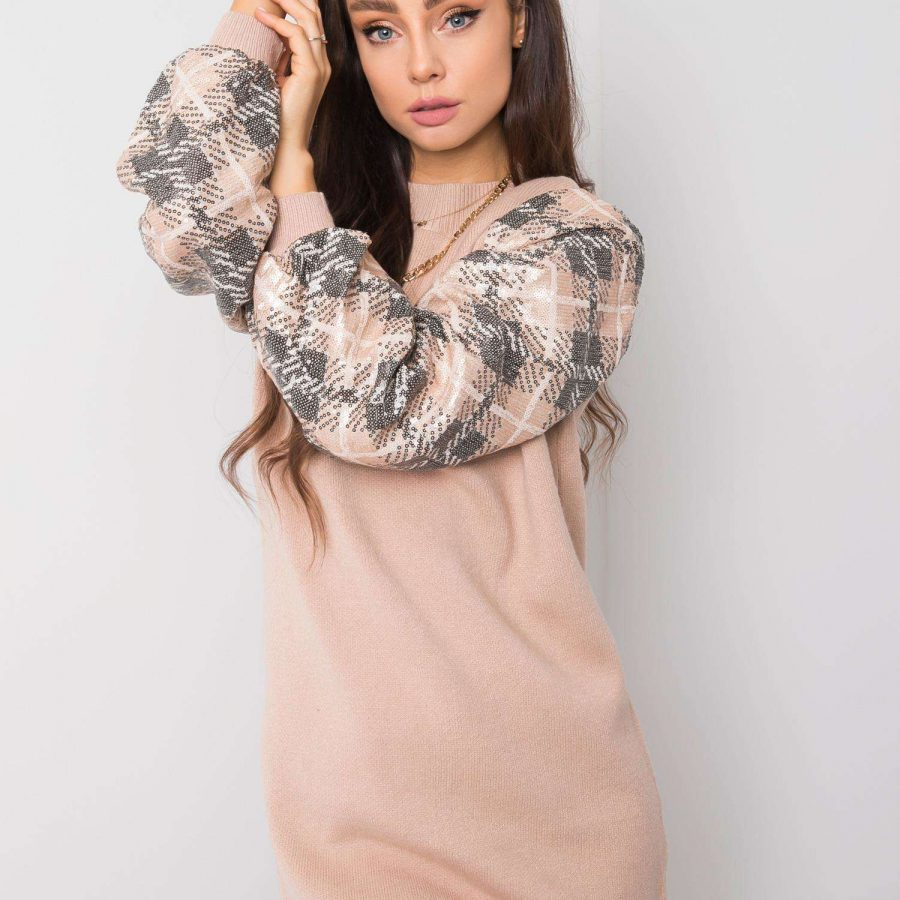 Sukienka-HM-SK-C9007.19-ciemny bezowy