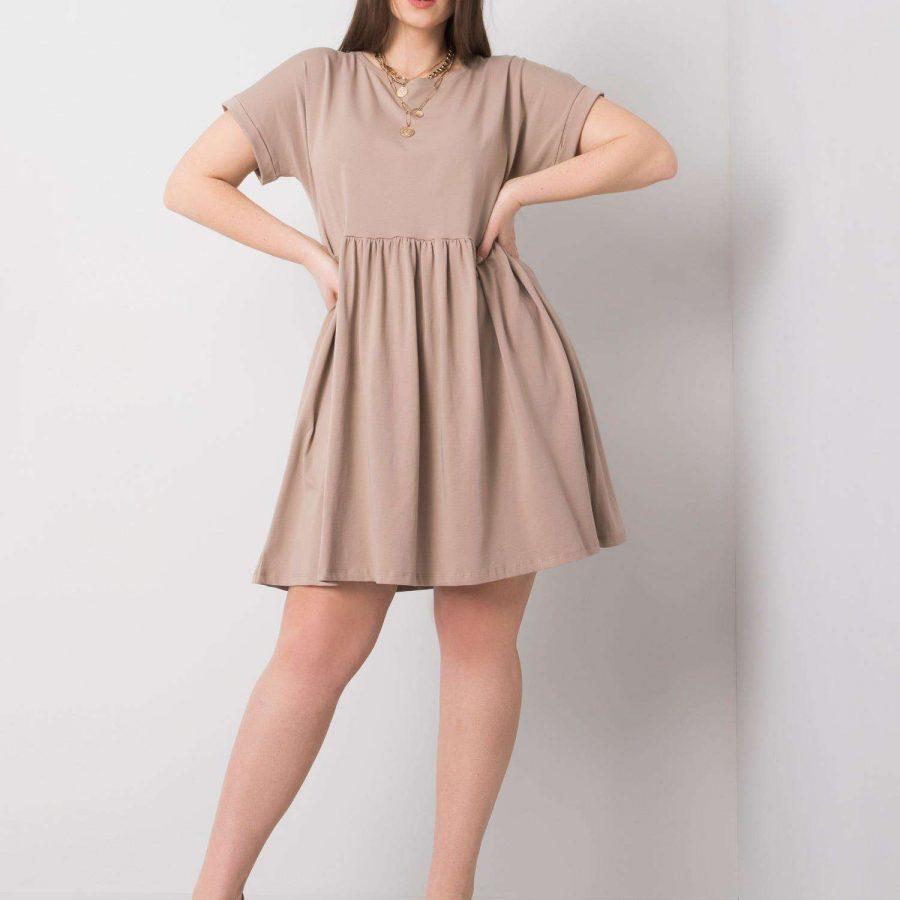 Sukienka-RV-SK-6292.09P-ciemny bezowy