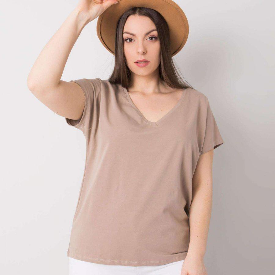 T-shirt-RV-TS-6305.22P-ciemny bezowy