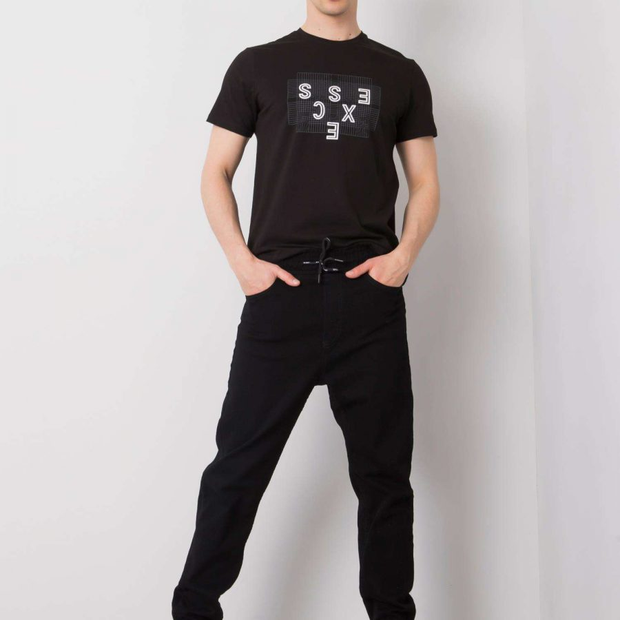 Spodnie jeans-MOM0106-600-czarny